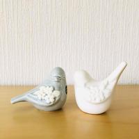 DECO/デコ/Rosa Ljung/ローサ ユング/小鳥さんのフィギュア/パステルグレー&ホワイト/ペアセット