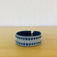 Sameslöjd/サーミ伝統手工芸品/本革と錫のブレスレット/ブルー