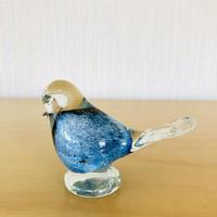 ヴィンテージガラス/ハンドメイドの小鳥のフィギュア/ブルー