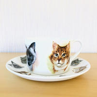 Gustavsberg/グスタフスベリ/ティーカップ&ソーサー/ネコ柄