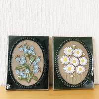 Jie Gantofta/ジィガントフタ/陶板/ワスレナグサとマーガレットのお花/2枚セット