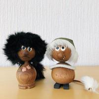 チーク製のモフモフ頭とシッポのトロールお二人さん/ブラック&ホワイト