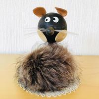 モフモフなネコさん/木製/茶色のファー