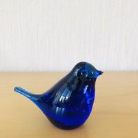 ヴィンテージガラスの小鳥ちゃんのオブジェ/コバルトブルー