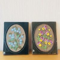 Jie Gantofta/ジィガントフタ/陶板/忘れな草と三色すみれのお花柄/2枚セット
