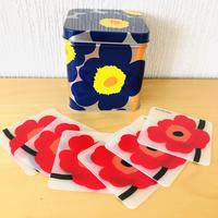 Marimekko/マリメッコ/Unikko/ウニッコ/ブリキ缶&コースターのセット