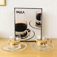 iittala/イッタラ/Paula/パウラ/耐熱ガラスカップ&ソーサー/2客セット/24Kゴールドホールダー/オリジナルケース入り