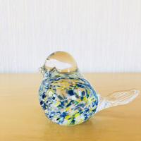 ヴィンテージガラス/小鳥のフィギュア/ブルー