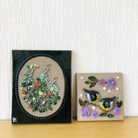 Jie Gantofta/ジィガントフタ/DECO/デコ/陶板/リンゴンベリーと小鳥とお花/2枚セット