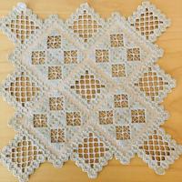 ハダーンガー刺繍/テーブルクロス, コースター2枚セット/ベージュ x 若草色