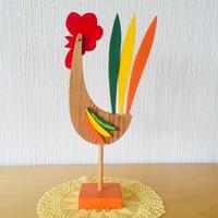 ハンドメイドのニワトリのオブジェ/木製