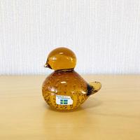 Lindshammar/リンドハンマー/ハンドメイドガラスの小鳥のオブジェ/琥珀色