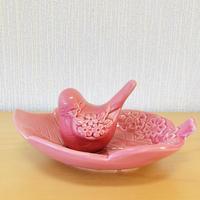 DECO/デコ/Rosa Ljung/ローサ ユング/小鳥さんとお花のお皿/濃いピンク/2個セット