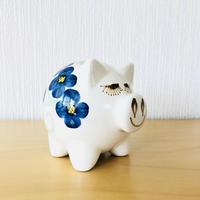 GABRIEL/ガブリエル/まつ毛の長いブタさんの貯金箱/ブルーのお花柄