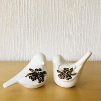 DECO/デコ/小鳥のフィギュア/2個セット/白に茶色の小花