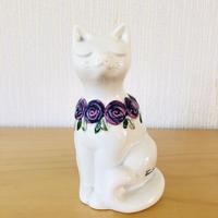 DECO/デコ/Rosa Ljung/ローサユング/猫ちゃんのオブジェ/パープルの薔薇