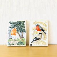 Jie Gantofta/ジィガントフタ/陶板/スウエーデン野鳥シリーズ/ヨーロッパこまどり&ウソ