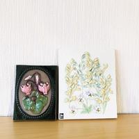 Jie Gantofta/ジィガントフタ/陶板/シクラメンと燕麦、ヴィオラのお花/2枚セット
