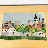 北欧伝統織物/タペストリー/フレミッシュ織/スウエーデンの街並み