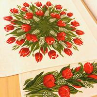Frösö Handtryck/フルーソー ハンドプリント/プリントクロス/リネン地/チューリップとムスカリのお花/2枚セット