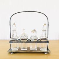 アンティーク/クリスタルガラスの調味料入れ/4本セット