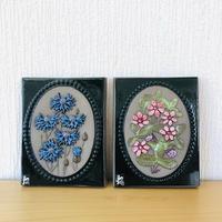 Jie Gantofta/ジィガントフタ/陶板/チシマイチゴと矢車草のお花/2枚セット
