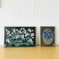 Jie Gantofta/ジィガントフタ/陶板/ヴィオラとブルーの花束/2枚セット