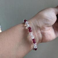 宝石質のルビーとガネッシュ産ヒマラヤ水晶  (ルビー16珠)