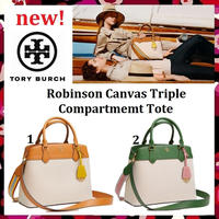 新作セールTory Burch Robinson Canvas Triple Compartment Tote