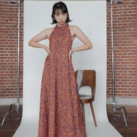 [CONN] チューブネックドレス/ オレンジ×パープル|Women's