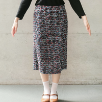 [COOHEM] SUMMER GARDEN TWEED SKIRT / NAVY|Women's