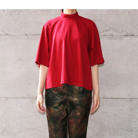 [usual] 変形ハイネックカットソー / RED|Women's