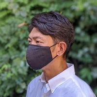 【Men's】高機能 優しくフィットするマスク/BLACK LINEN