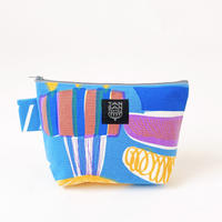 Machi Pouch Mサイズ「Lamp Flower」blue