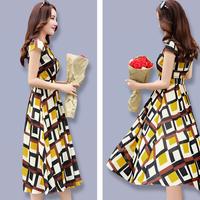 シフォンワンピース Vネック スリムロング 半袖ドレス(7)
