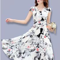 シフォンワンピース Vネック スリムロング 半袖ドレス(1)