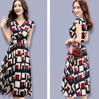 シフォンワンピース Vネック スリムロング 半袖ドレス(5)