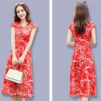 シフォンワンピース Vネック スリムロング 半袖ドレス(4)