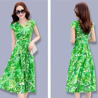シフォンワンピース Vネック スリムロング 半袖ドレス(3)