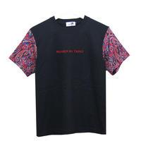 RONER  Jacquard Paisley sleeve T-shirt  BLACK