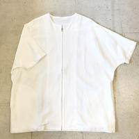 shirohakaman   LINEN ZIP SHIRTS  WHITE