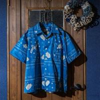 DDK  オープンカラーシャツS/S バンダナ柄 ブルー