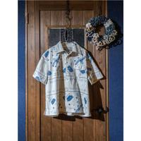 DDK  オープンカラーシャツS/S バンダナ柄  ホワイト