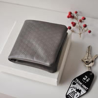 ☆  COSMIC WONDER  /  Flower of life Light leather bifold wallet (GRAY) ☆