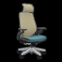 【新発売】Gesture with Headrest(ジェスチャー)- Lagoon, 3Dknit Mat, Platinum Base & Frame