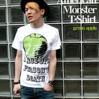 tgw033tee-gr - American Monster(green apple) Tシャツ -G- パンクロックTシャツ 林檎 リンゴ アップル