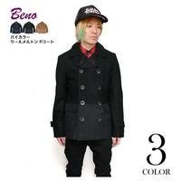 beno6995-bk09 - バイカラー ウールメルトン Pコート(ブラック) - Beno -G-( ピーコート 防寒アウター モード カジュアル )