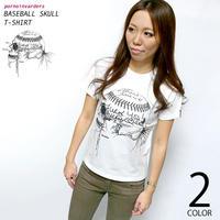 pi004tee-wh - ベイスボールスカル Tシャツ (ホワイト)-G- 半袖 野球 ベースボール スカル パンクロック バックプリント