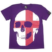 tgw041tee-pu - セント ジョージ クロス スカル Tシャツ (パープル) -G- 半袖 パンクロック ドクロ イングランド 十字旗 紫色