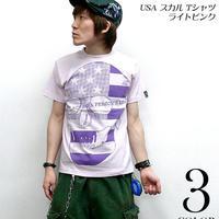 tgw019 - USA スカル Tシャツ ( ライトピンク ) - The Ghost Writer -G- ( パンク ロックTシャツ SKULL ドクロ アメリカ 半袖 )